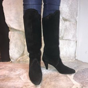 Yves Saint Laurent Suede Heeled Boots